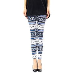 4a507e8d33e052 Womens Slimming Snowflake Printed Christmas Leggings Blue ($5.98) ❤ liked  on Polyvore featuring pants, leggings, blue, snowflake pattern leggings, ...