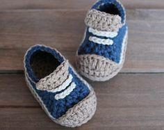 """Crochet Pattern for Boys Booties """"Crete"""" Sneaker, Modern Pattern, low top sneaker, blue crochet baby shoes"""