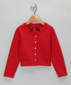 Take a look at this Red Classic Cardigan - Toddler & Girls by Soft Clothing on #zulily today!