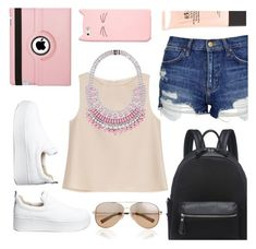 """""""pink summer outfit #4"""" by nicholas-the-third ❤ liked on Polyvore featuring Natico, Topshop, ADAM, Windsor Smith, Kate Spade, Tom Binns, Valentino, Stila, Pink and hightops"""
