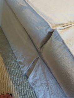 {Coastal Nest}: A dropcloth slipcover sofa.the lovesong. Drop Cloth Slipcover, Slipcovers For Chairs, Slipcover Sofa, Diy Sofa Cover, Couch Covers, Furniture Update, Diy Furniture, Painters Cloth, Drop Cloth Projects