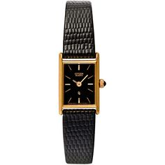 Vintage Citizen Rectangular Ladies' Leather Band Watch ($180) ❤ liked on Polyvore