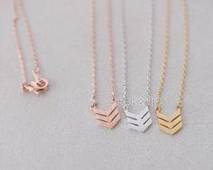 Triple Chevron Necklace Gold/ Silver/ Pink gold by bkandjio