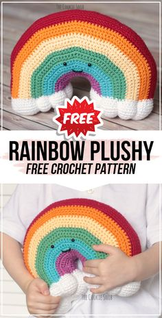 crochet Rainbow Plushy free pattern - easy crochet cushion pattern for beginners Crochet Unicorn Pattern Free, Crochet Pillow Pattern, Crochet Cushions, Easy Crochet Patterns, Free Crochet, Free Pattern, Crochet Blocks, Afghan Patterns, Square Patterns