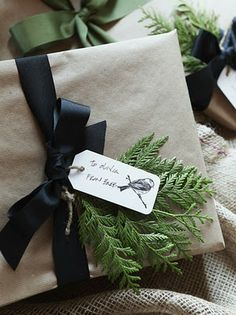 kraft paper, black ribbon, fir bunch.