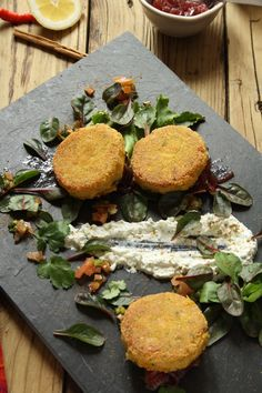 Butternut squash and chickpea cakes
