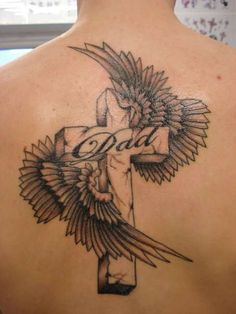 cross tattoos for women | Angel Cross Tattoos http://fash4style.com