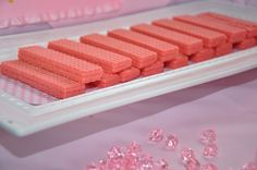 Paris Birthday Party - pink wafer cookies, dip them in chocolate!