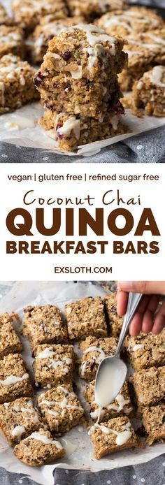 These coconut chai quinoa breakfast bars are vegan, gluten-free, refined sugar-free, filled with plant-based protein and can be made nut free depending on the mix-ins you use. They also make a great grab-and-go vegan breakfast   ExSloth.com