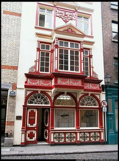 Red and white Store front.