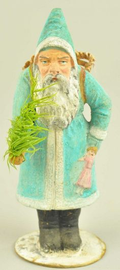 Germany, aqua blue Santa with white trim on robe, holding a doll and feather tree sprig, wicker basket on his back, s. on Nov 2013 Merry Christmas To All, Antique Christmas, Father Christmas, Blue Christmas, Christmas Items, Christmas Design, Christmas Candy, Turquoise Christmas, Christmas Wishes