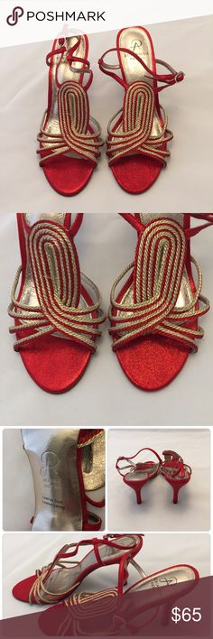 """Adrianna Papell Red & Gold Heels Size 8 M Beautiful pre-loved condition. Shoes are sparkley and heel height is a 4"""". Adrianna Papell Shoes Heels"""