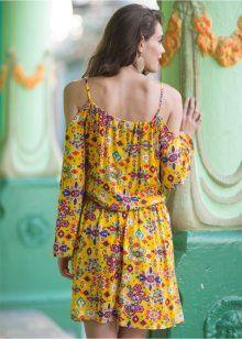 Vestido ombos vazados, amarelo estampado