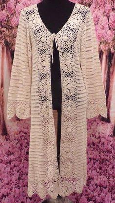 VENUS Silk Ivory Natural Crochet Long 3/4 Slv Jacket Top Boho Hippie Festival L #Venus #JacketTunic #Casual