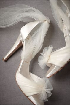 Tulle ankle wrap heels #wedding #shoes