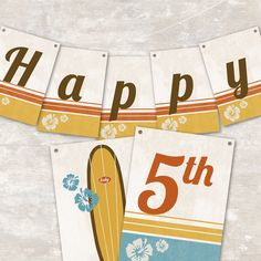 PRINT & SHIP Vintage Surf Party Pennant Banner by paperandcake, $27.95