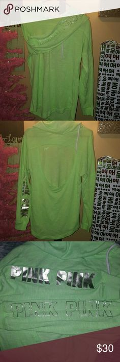 Vs pink hoodie Super cute open back light weight sweatshirt. Size small, but fits big. Price is firm. PINK Victoria's Secret Tops Sweatshirts & Hoodies