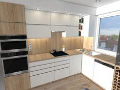 Konyha fehér és natúr színben - konyha / étkező ötlet, modern stílusban