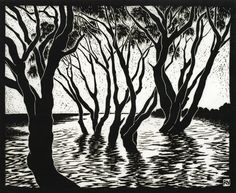Tea Trees Lake Ainsworth30 x 36.5 cm    Edition of 50Linocut on handmade  Japanese paper$550 Rachel Newling