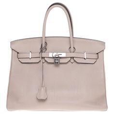 Sacs à main Hermès Superbe sac à main Hermès Birkin 35 en cuir Togo étoupe, garniture en métal argent palladié en très bon état ! Cuir Gris ref.189841 - Joli Closet