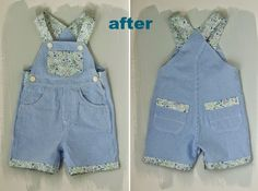 refashioning a pair of baby dungarees :: boy to girl