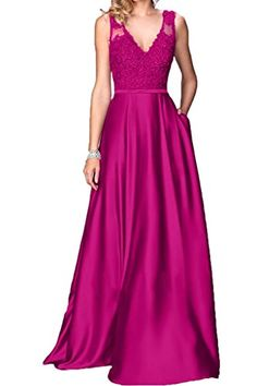 Ivydressing Lace V-neck Prom Gowns A-line Long Wedding Evening Dresses-26W-Fuchsia