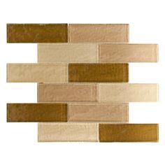"Elida Ceramica15"" x 12"" Mosaic Natural City Bricks Glass Wall Tile"