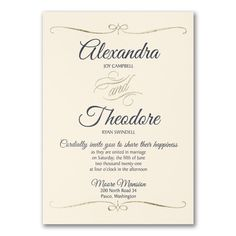 Foil swirls will frame your wording elegantly on this ecru wedding invitation. This simplistic design adds a chic touch. Personalized Invitations, Custom Invitations, Invitation Design, Invites, Ivory Wedding Invitations, Corporate Invitation, Online Invitations, Timeless Wedding, Save The Date Cards