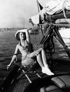 Clara Bow on a sail boat. Check out those high-top tennis shoes!