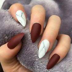 70 Trendy Burgundy Nails Designs Ideas You Definately Have to Try – Trendy Nails Stiletto Nail Art, Cute Acrylic Nails, Fun Nails, Coffin Nails, Matte Nail Art, Burgundy Nail Designs, Burgundy Nail Art, Burgundy Color, Marble Nail Designs