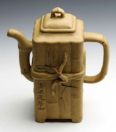 SUPERB ANTIQUE CHINESE YIXING YELLOW CLAY MOULDED BAMBOO TEAPOT