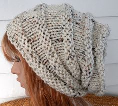 Womens Knit Hat  cream  tweed beanie oatmeal by TikiFiberCrafts, etsy.com. looks like an accordion!! (: