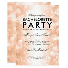 Bachelorette Party Rose Gold Shimmer Lights Card - glitter glamour brilliance sparkle design idea diy elegant