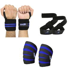 Knee Wraps Weight Lifting Body Building Gym Training Support Leg Wrist Straps in Sporting Goods, Fitness, Running & Yoga, Strength Training & Weights | eBay