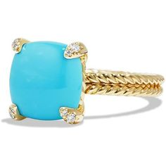 David Yurman Chatelaine Ring with Turquoise and Diamonds in 18K Gold (£1,480) ❤ liked on Polyvore featuring jewelry, rings, apparel & accessories, gold turquoise cabochon, diamond rings, pave diamond ring, gold rings, turquoise rings and gold diamond rings