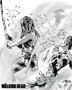 Michonne from The Walking Dead by Average Joe Art.. Michonne is the best!!!