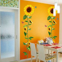 Online Shop Artificial sunflower wall stickers glass stickers bathroom wall stickers sofa tv background wall stickers|Aliexpress Mobile