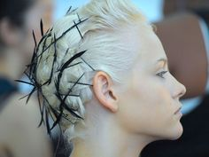 bobby pin black feathers in platinum hair