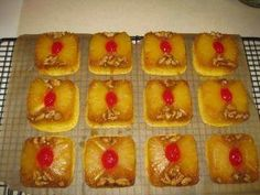 Pineapple Upside Down Mini Cakes in The Pampered Chef's Brownie Pan