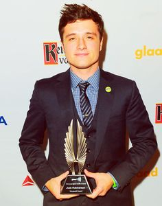 Josh Hutcherson and his GLAAD Award this past weekend. Go to the @Pin Pals Hunger Games board to watch his acceptance speech!