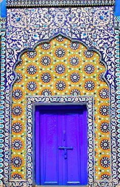 The mausoleum of Shah abdul latif bhittai at Bhitshah Hala, Sindh, Pakistan is one of the masterpiece of Islamic art work.