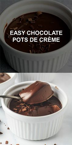 Easy Chocolate Pots de Crème A deliciously rich and creamy no-bake chocolate pudding that is super easy to make and only requires 5 simple ingredients! The post Easy Chocolate Pots de Crème appeared first on Dessert Factory. Chocolate Pudding Recipes, Easy Chocolate Desserts, Chocolate Pots, Chocolate Cheesecake, Chocolate Truffles, Chocolate Lovers, Chocolate Coffee, Easy Pudding Recipes, Chocolate Videos