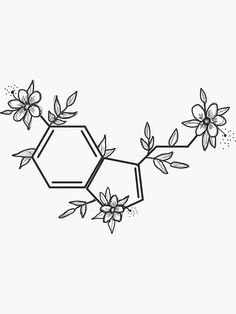 """""""Serotonin Sticker"""" Sticker by Cute Tattoos, Body Art Tattoos, Small Tattoos, Pencil Art Drawings, Cute Drawings, Chemistry Art, Chemistry Tattoo, Serotonin Tattoo, Lotusblume Tattoo"""