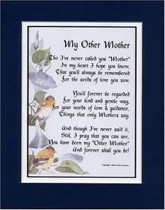 My Other Mother A Gift For In Law Or Someone Who Is Like To You Touching Poem Double Matted Dark Blue Over White And Enhanced With