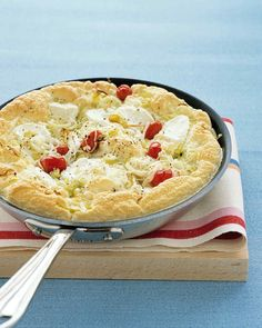 Tomato and Leek Frittata | Martha Stewart Living - Light and airy beaten egg whites are the secret to this fluffy and delicious frittata.