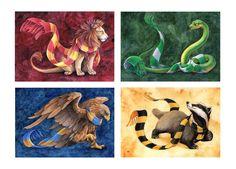 Hogwarts house animals & scarves