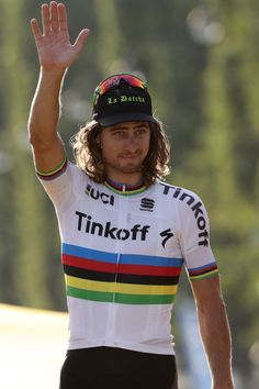 Peter Sagan celebrates his combativity prize Tour de France 2016 / AFP