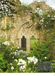 I think it would be so beautiful to build a miniature church wall and just have the flowers overtake it in the garden