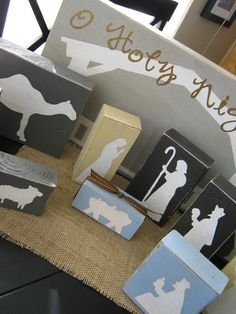 diy wooden nativity set...LOVE this on little thin blocks from the craft store and hung in a line...Mary, Joseph and Jesus and one with a star and three animals.