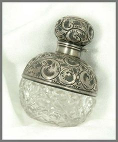 Antique English Sterling and Cut Glass Perfume Bottle, ca. 1909